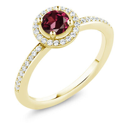 0.79 Ct Round Rhodolite Garnet 18K Yellow Gold Plated Silver Engagement Ring