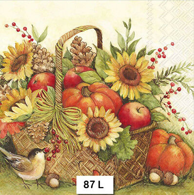 (87) TWO Individual Paper Luncheon Decoupage Napkins - AUTUMN BASKET BIRD FLORAL