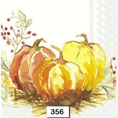 (356) TWO Individual Paper Luncheon Decoupage Napkins PUMPKINS WATERCOLOR AUTUMN