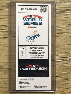 2018 Boston Red Sox @ LA Dodgers 10/26 World Series Game 3 Printed Ticket Stub
