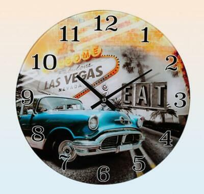 Wall Clock Glass Welcome to Las Vegas Classic Car Blue, Wall Clock 30 Cm
