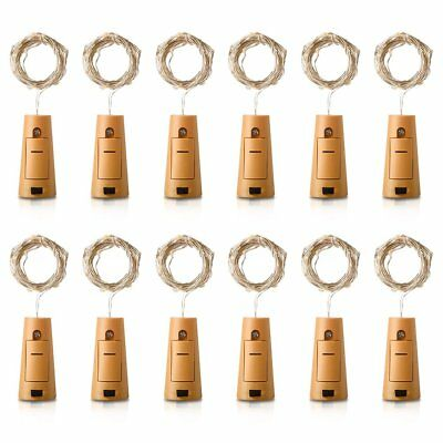 12X 2M 20 LED Wine Bottle Fairy String Light Cork Starry Night Lamp Xmas Wedding