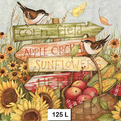 (125) TWO Individual Paper Luncheon Decoupage Napkins - HARVEST, BIRDS, AUTUMN