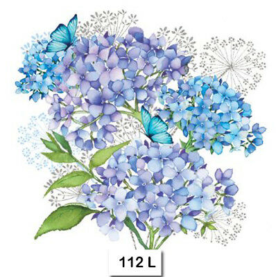 (112) TWO Individual Paper Luncheon Decoupage Napkins - HYDRANGEA, FLOWERS, BLUE