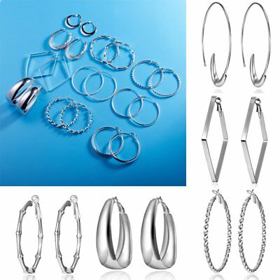 Chic Hoop Silver Ringent Circle Hook Earring Ear Clip Chain Women Jewelry Gift