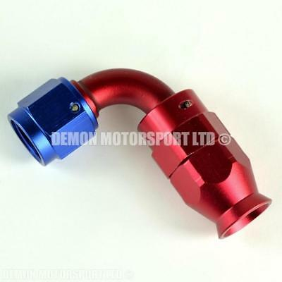 AN8 90 Degree Braided Hose Fitting (Red & Blue) PTFE Teflon Lined Hose -8 8AN