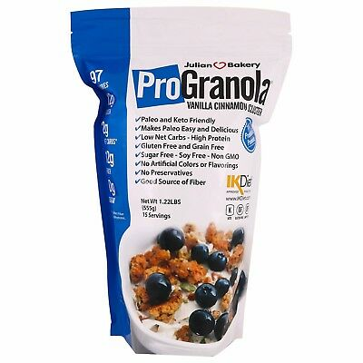 ProGranola 12g Protein Cereal Vanilla Cinn Paleo, Low Net Carb, GF, TWO (2) PACK