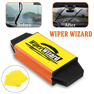 Car Van Wiper Wizard Windshield Wiper Blade Restorer Cleaner w/ 5 Wizard Clothes