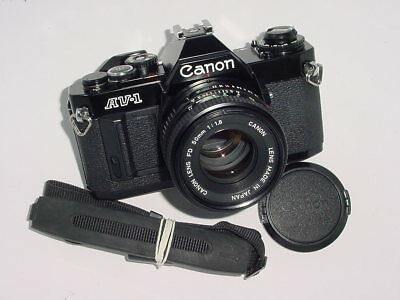 Canon AV-1 35mm Film SLR Manual Camera + Canon 50mm F1.8 FD Lens - Black * mint