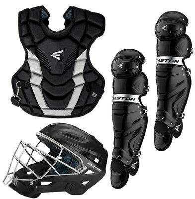 Easton A165427 Adult Gametime Black / Silver 3-Piece Catchers Set