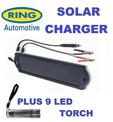 Ring RSP150 1.5w Solar Battery Charger Maintainer Car Boat Caravan & 9 LED Torch