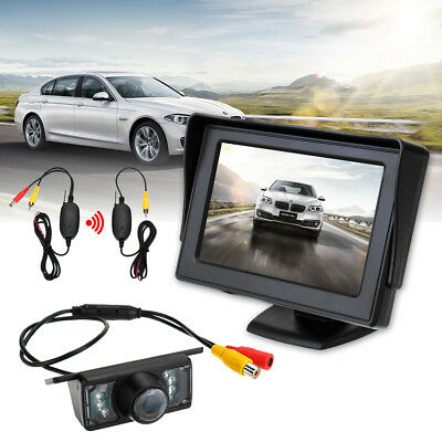 Car Rear View Backup Reverse Camera 135° 4.3'' TFT LCD Monitor Wireless NEW