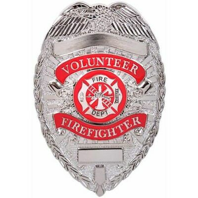 Volunteer Firefighter Silver Badge Fire Department Shield Fire Fighter Fireman
