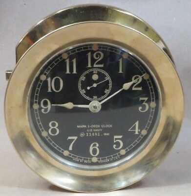 1941 Mark 1-Deck Clock, U.S. Navy 11481 Made by Seth Thomas in USA, BRASS SHIPS