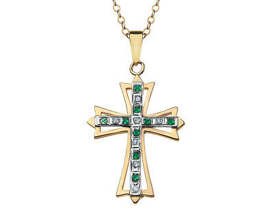 Emerald & Diamond Cross Pendant 18 In in Sterling Silver & 14K Yellow Gold