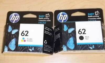 Lot of 2 Genuine HP 62 Ink Cartridge - Black/Color - C2P06AN/C2P04AN - Black Box