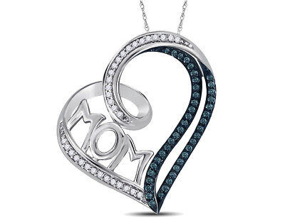 Heart MOM Pendant Necklace in Sterling Silver with Chain With Enhanced Blue and