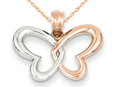 terfly Heart Pendant Necklace in 14K Rose Pink Gold with Chain