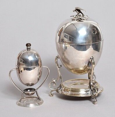 An Excellent Antique Benetfink Silver Plate Egg Coddler And Small Egg Warmer (?)