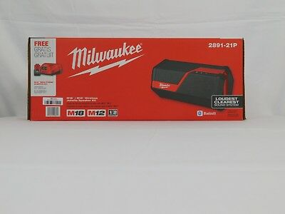 Milwaukee 2891-21P M18/M12 Wireless Jobsite Speaker w/2.0Ah Batt+Charger New