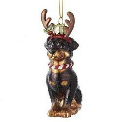Glass Dog Ornament ROTTWEILER w/Antlers Dog Breed Christmas Ornament