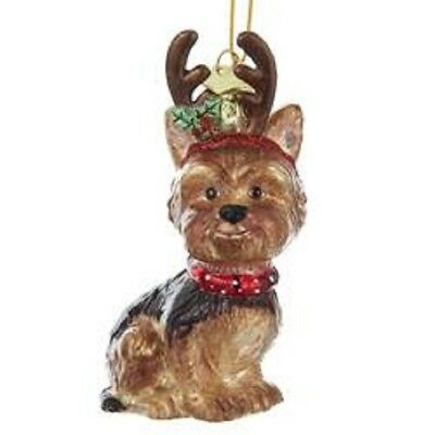 Glass Dog Ornament YORKSHIRE TERRIER w/Antlers Dog Breed Christmas Ornament