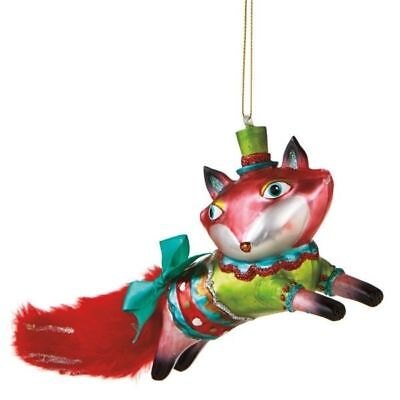 Blown Glass RED FOX Colorfully Dressed Christmas Ornament RETIRED