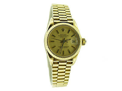 Lady Rolex Solid 18K Yellow Gold Datejust President Watch w/Champagne Dial 6917