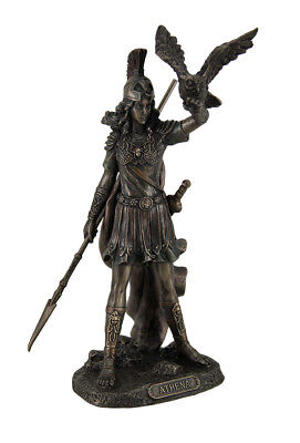 Athena Greek Goddess of Wisdom Law and Justice Holding Owl and Spear Statue