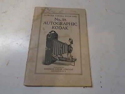 1925 Instructions Manual for Kodak No 3A Autographic Camera