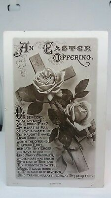 Vintage Old Antique Postcard, An Easter Offering Greetings Card Circa 1900 Used