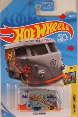 HOT WHEELS #2018-353 Kool Kombi VW (Volkswagen) Bus - Art Cars (IMPERFECT CARD)