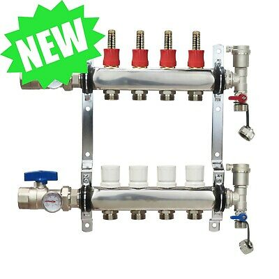 4 Loop/Port Stainless Steel PEX Manifold Radiant Heating w/ connectors - PEX GUY