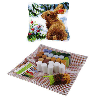 Rabbit Pattern Latch Hook Kit with Starter Tool for Beginners Making Pillow