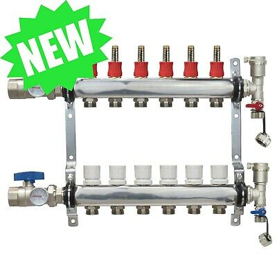6 Loop/Port Stainless Steel PEX Manifold Radiant Heating w/ connectors - PEX GUY