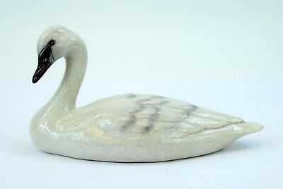 "Big Sky Carvers Swan Sculpture Stonecast 2013 Figure Bird 5"" Tall 10"" Wide White"