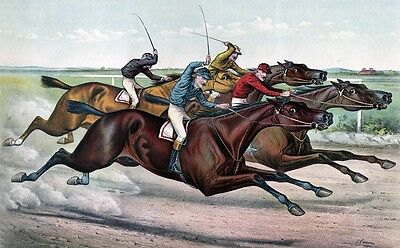 """perfect  36x24oil painting handpainted on canvas """" horse racing """"842"""
