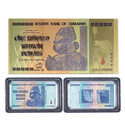 Zimbabwe 100 Trillion Dollar Banknote Gold Plated Bill Collection Paper Money US