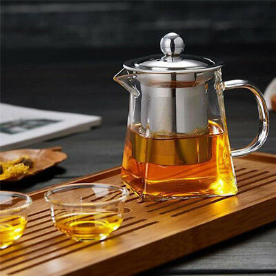 Stainless Steel Infuser Filter Clear Heat Resistant Glass Tea Pot Practical