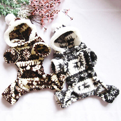 Xmas Pet Dog Clothes Cat Snowflake Deer Soft Hoodie Jumpsuit Puppy Coat Costume