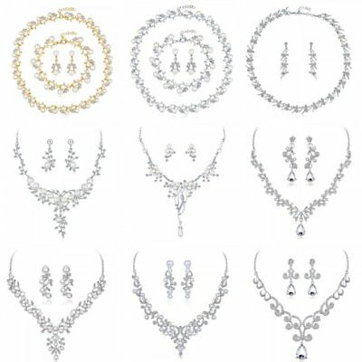 Crystal Pearl Women Lady Wedding Bridal Bridesmaid Necklace Earrings Jewelry Set