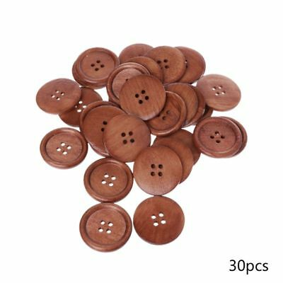 30pcs Large Size 40mm Coffee Round Wood Buttons 4 Holes Craft Sewing Button