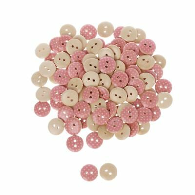 100pcs Round Dot 2 Holes 15mm Wooden Buttons Sewing Scrapbooking DIY Crafts