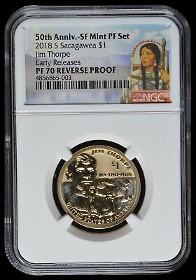 2018 S Sacagawea $1 50Th Anniv. Sf Mint Pf Set Label Ngc Pf70 Reverse Proof E.r.