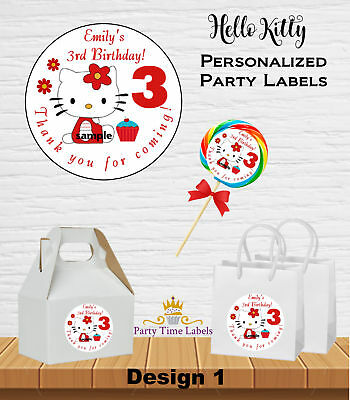 3654e20ef HELLO KITTY BIRTHDAY Party Favor Round Labels Stickers - $6.95 ...