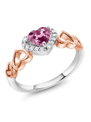 0.60 Ct Heart Shape Pink Tourmaline Two-Tone Sterling Silver Ring