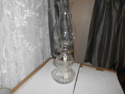 Vintage Retro 1980S Austrian  Lamplight Farms Clear Pressed Glass Table Oil Lamp