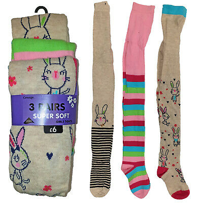 Girls Childrens Tights 3 Pair Set Cotton Bunny Rabbit Spring Easter UK 1-8 Years