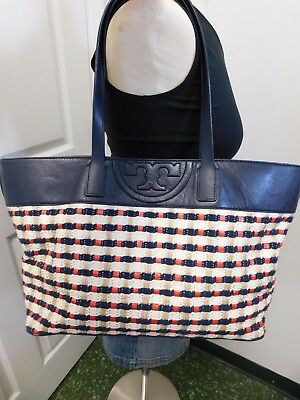ea70d928cab TORY BURCH MARION Woven Tote Bag Multi Color Straw & Leather. Used ...