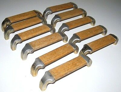 Vintage Lot of 11 Oak & Brass Desk Drawer Handles Industrial Mid Century Modern
